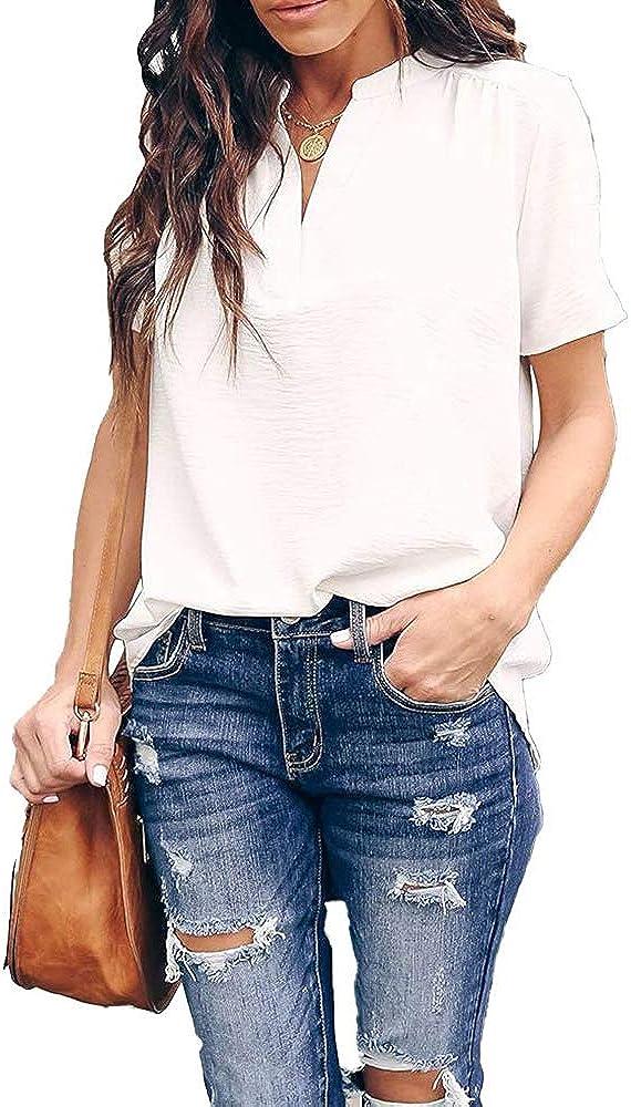 Womens Tops Dressy Casual Split V Neck Chiffon Blouses for Women Short Sleeve Summer Shirts
