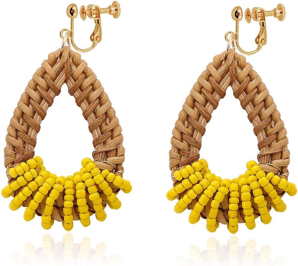 Clip on Earrings non Pierced Dangle Lightweight Teardrop Rattan Handmade Women Girl Bohemian Beads