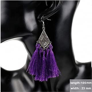 Womens Drop Dangle Earrings Ethnic Women Drop Earrings Flower Charms Long Silk Fringed Tassel Pendant Knot Chinese Wind Handmade Boho DIY Jewelry E522