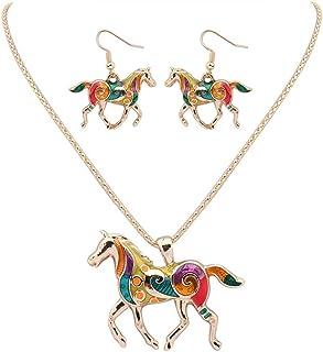 Monbedos Ensemble collier et boucles d'oreilles pour femme - Motif cheval arc-en-ciel - Doré
