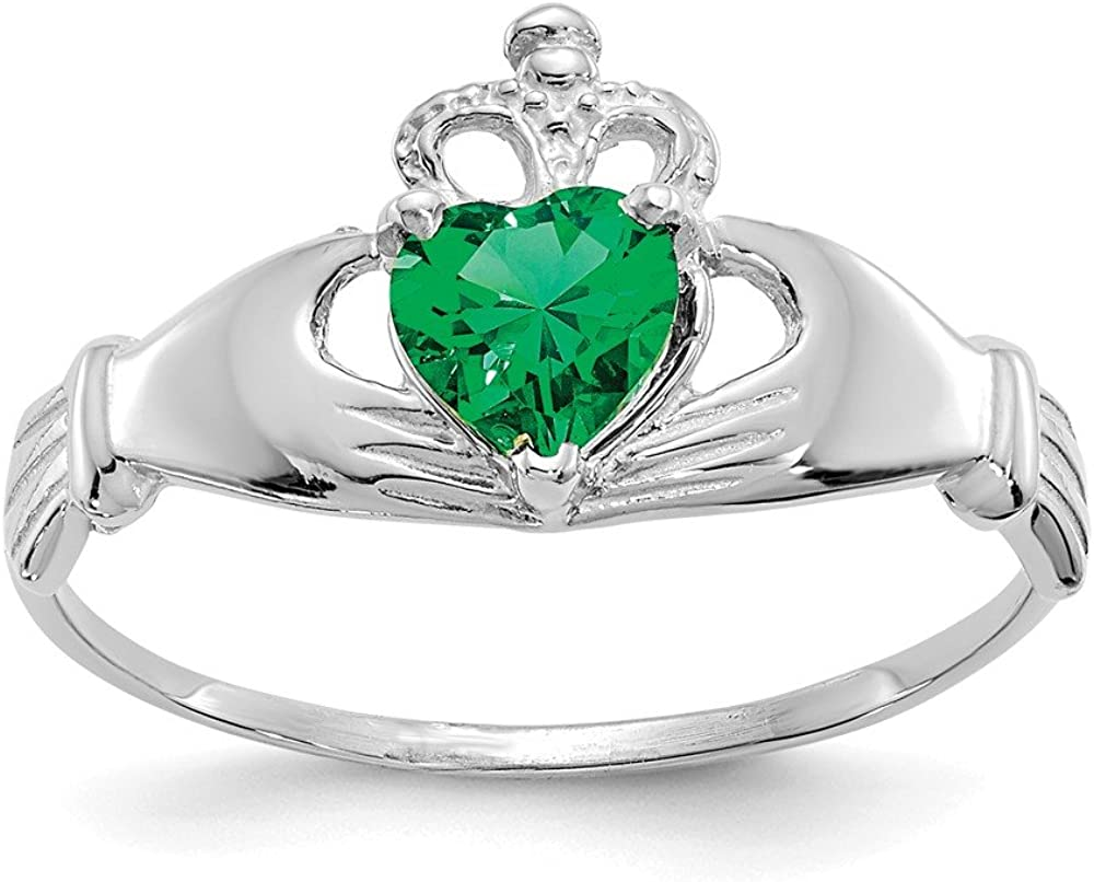 14k White Gold Cubic Zirconia Cz May Birthstone Irish Claddagh Celtic Knot Heart Band Ring Size 7.50 Fine Jewelry For Women Gifts For Her