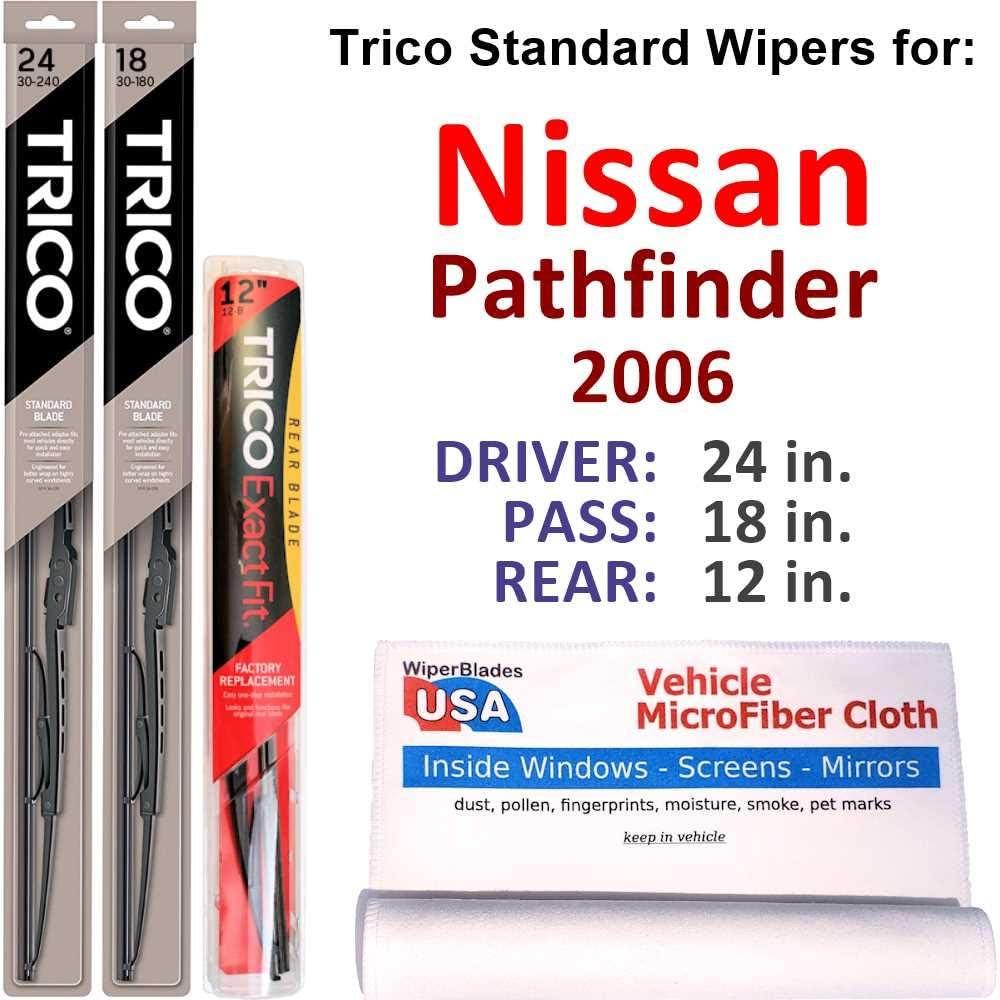 販売 Wipers for 2006 Nissan Pathfinder Steel Set Trico オーバーのアイテム取扱☆ Rear w