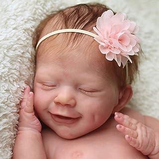 KLOP256 Reborn Baby Doll Kit 55 cm regalo sin pintar Cara sonriente DIY Asamblea simulación de silicona cuerpo completo ni...