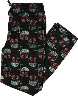 Star Wars Men's Boba Fett All Over Helmet Pattern Flannel Adult Loungewear Pajama Pants