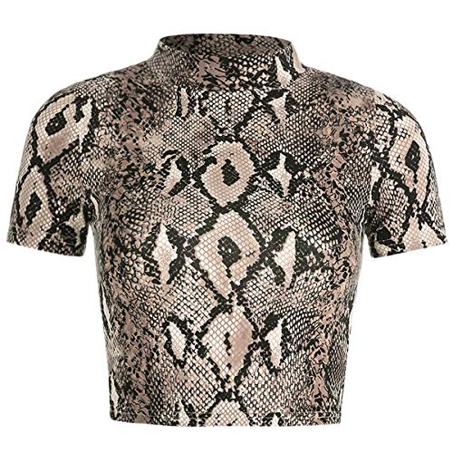 Perfashion Women's Sexy Cropped Top Summer Slim Short Sleeve Snakeskin Pattern Crop t Shirt Brown