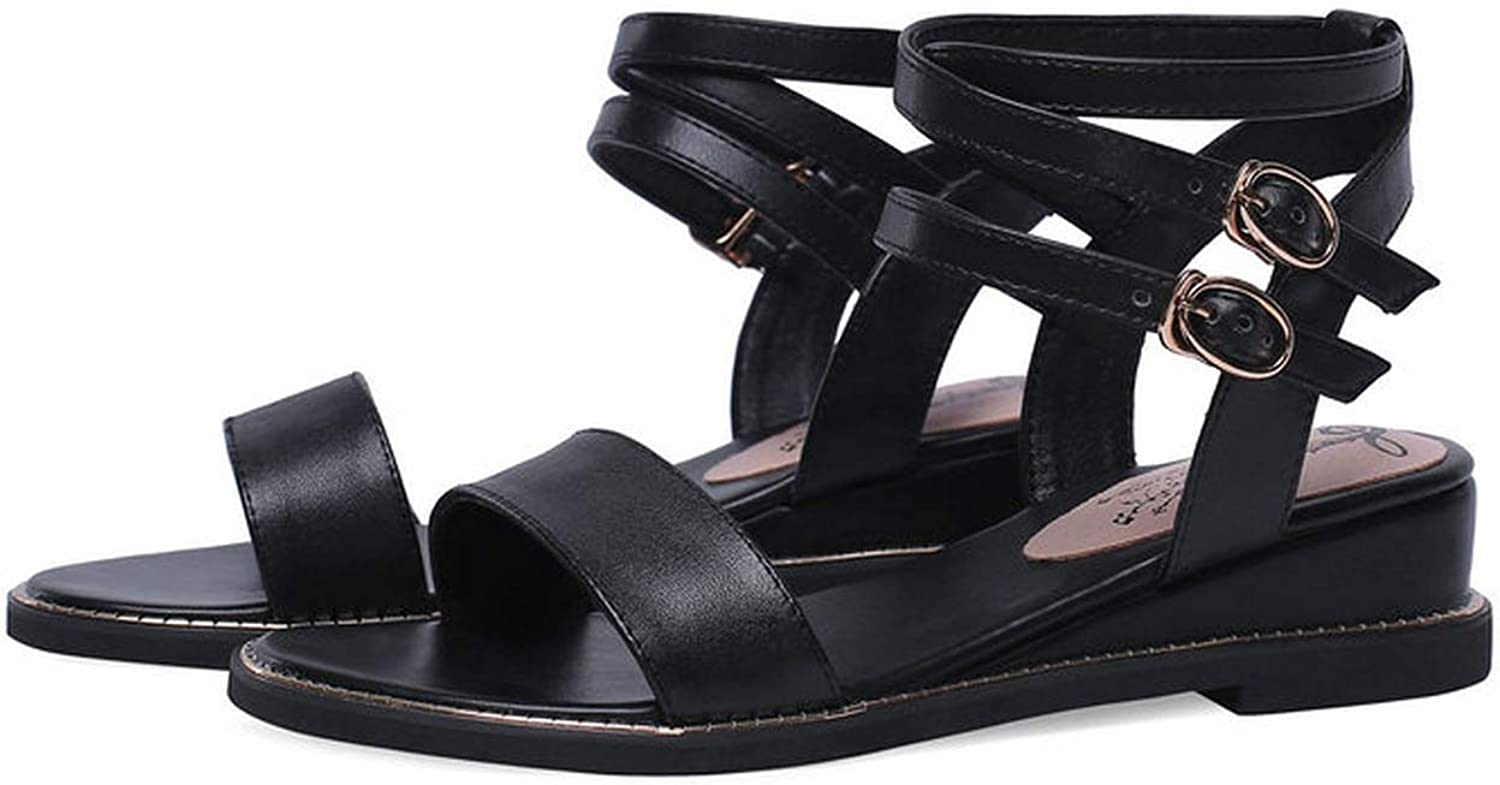 Mamamoo 2019 New Low Wedges Heels Sandals Women Genuine Leather Ankle Strap Summer shoes Woman,Black,11