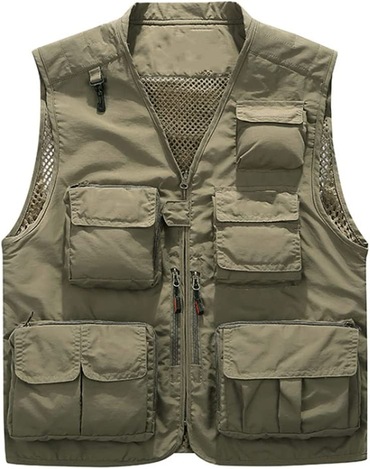 2021 autumn and OFFicial site winter new HYFDGV Fishing Vests for Men Vest Multi-Pockets Photogra