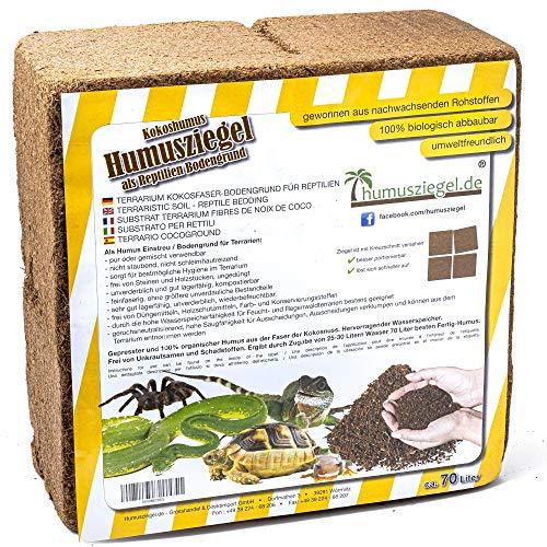Humusziegel - 70 L Sustrato de Fibra de Coco para Reptiles - Ladrillo de Humus de Coco - Cama de Suelo Tierra de Coco - Sustrato para Terrarios