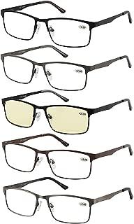 Eyecedar 5-Pack Reading Glasses Men Metal Frame Rectangle Style Stainless Steel Material Spring Hinges Includes Computer Readers +1.50