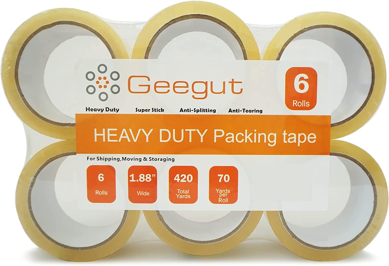 GEEGUT Clear Shipping Packing Tape Selling and selling Max 52% OFF Duty Packaging Re Heavy