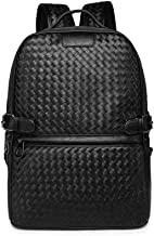 DHY-Y New Woven Backpack Unisex Backpack Trend Fashion PU Leather Big Capacity Black for Women Men