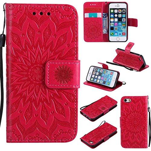 BoxTii Coque iPhone Se/iPhone 5 / 5s, Etui en Cuir de Première Qualité, Housse Coque pour Apple iPhone Se/iPhone 5 / 5s (#5 Rouge)