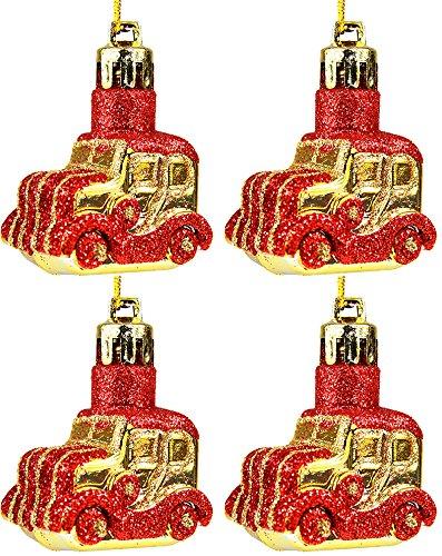 4 Stück Weihnachtskugeln Christbaumkugeln Christbaumschmuck Auto 4,5 cm (Gold)