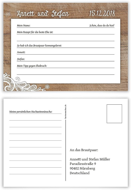 50 50 50 x Hochzeitsspiel Fragerunde Postkarte Fragen Antworten - Rustikal mit weißer Spitze B078HFH6H8   Geeignet für Farbe  867806
