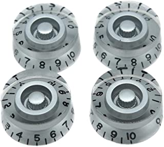 Best Dopro 4pcs Silver with Black Number Guitar Speed Dial Knobs Control Knob fits LP Guitar Review