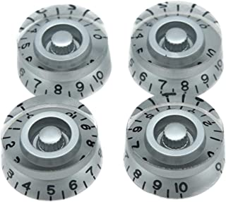 Dopro 4pcs Silver with Black Number Guitar Speed Dial Knobs Control Knob fits LP Guitar