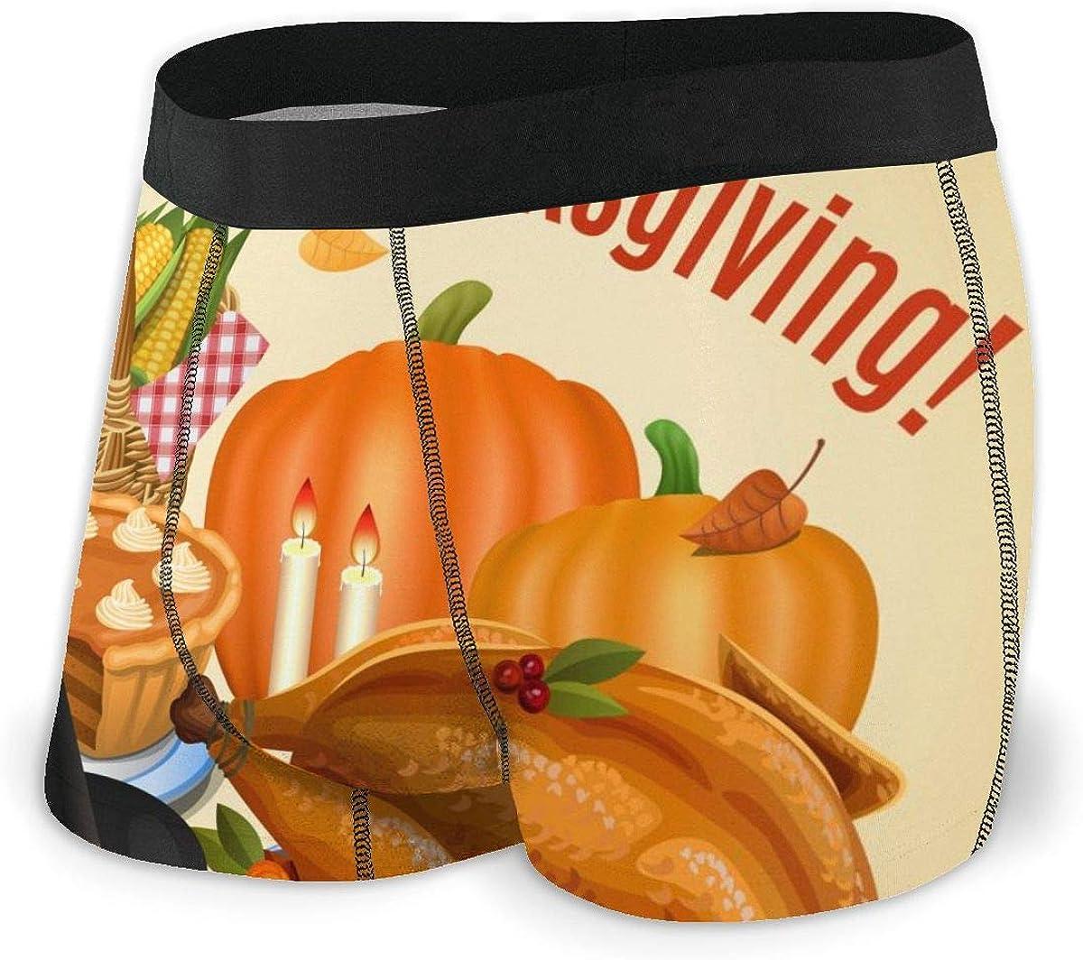 Randolph Wordsworth Mens Boxer Briefs Happy Thanksgiving Dinner Boys Trunks Underwear Short Leg Breathable Man