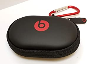 Hard Case + RED/Silver Carabiner/Hook for Powerbeats 3, 2 & 1, BeatsX, UrBeats, Tour, iBeats, Lady Gaga, Diddy Beats & All Beats Earphones/Earbuds Wired or Wireless Models. by:GeneralBuy.