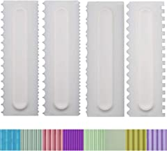 Antallcky Decorating Comb and Icing Smoother Set of 4 Pack Decorating Mousse Butter Cream Cake Edge Tools, Plastic Sawtooth Cake Scraper Polisher 8 Design Textures-White