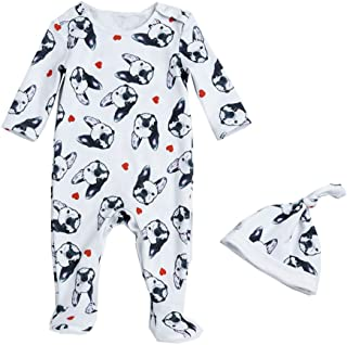Baby Boys Girls Unisex One Piece Bulldog Footies Pijama with Hat