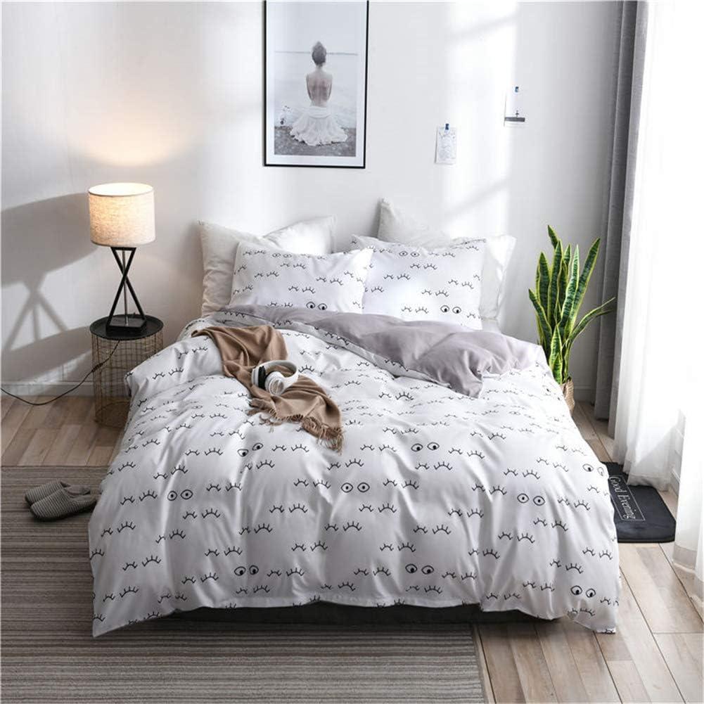 Honeystore 3PCS Full Size White 売り出し Printed C Cute Duvet 人気ブレゼント Bedding Set