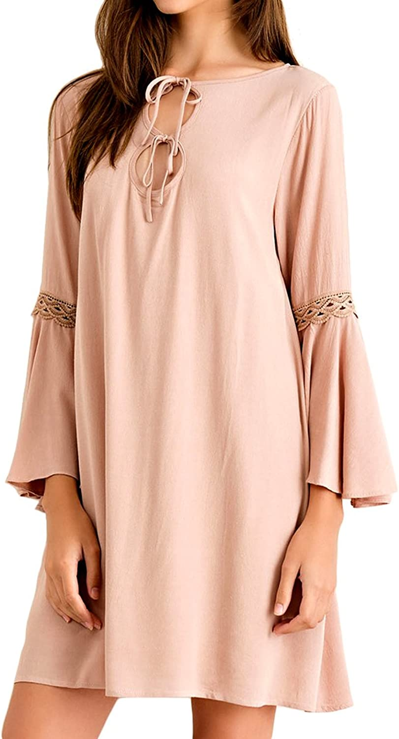 Almond Solid Dress with Front Cutout Ties & Lace Trim Long Sleeves