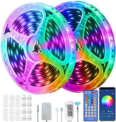 Mupack Tira de luces LED, tiras LED RGB inteligentes, control de aplicación, cambio de color, sincronización de música.