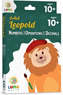 Luma World Artist Leopold Educational Game-Based Math Flash Cards with Magic Glass to View Hidden Answers for Ages 10+ Yea...