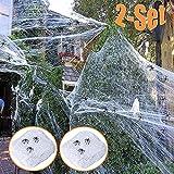 Lobyoh Decoración de Halloween Tela de Araña, 2 Paquetes con 70 Arañas, Decoraciones de Telaraña para Interiores y Exteriores, Accesorios de Halloween para Fiestas, Jardín, Hogar