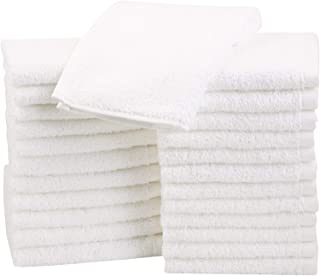 AmazonBasics Cotton Washcloths Towels - Pack of 24, White