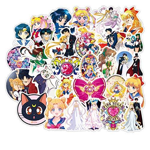 Sailor Moon Waterproof Sunlight-Proof DIY Ideals for Cars Motorbikes Skateboard Spinner Luggages Laptops (Sailor Moon)