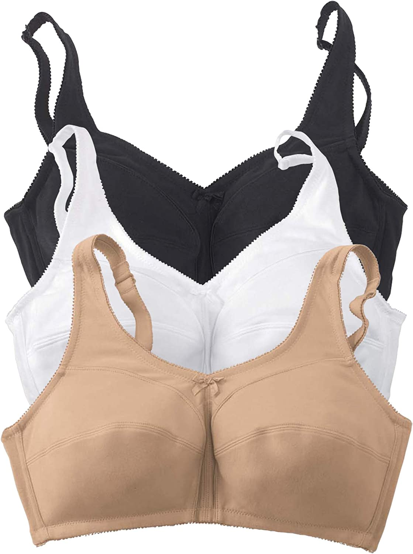 Comfort Choice Women's Plus Size 3-Pack Cotton Wireless Bra