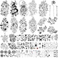Yazhiji 49 sheets large sexy flowers collection waterproof temporary tattoos lasting fake tattoos for women and girls.