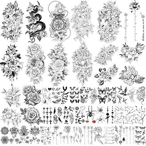 49 feuilles grande collection de fleurs sexy tatouage temporaire étanche durable faux tatouages pour femmes et filles.
