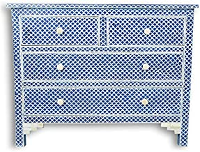 Dark Blue Fish Scale Bone Inlay Chest of Drawers