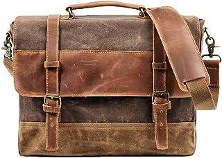 Bolso de mano para hombre, impermeable, estilo retro, de lona, de cuero, multifuncional, con tapa