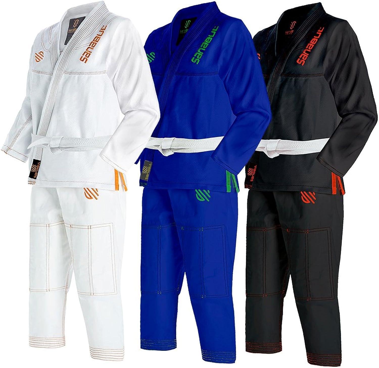 (K3, WHITE) - Sanabul Kids Highlights Brazilian Jiu Jitsu BJJ Gi