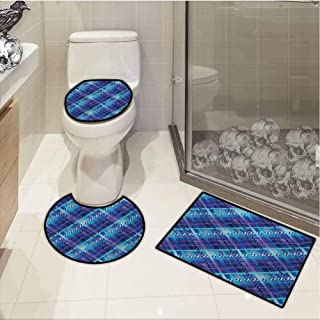 Toilet Rug and mat Set,Navy Blue,Complex Structured Different Lines and Patterns Polka Dots Stripes Patch Work,Non-Slip Bathroom Rug Set,Purple Blue