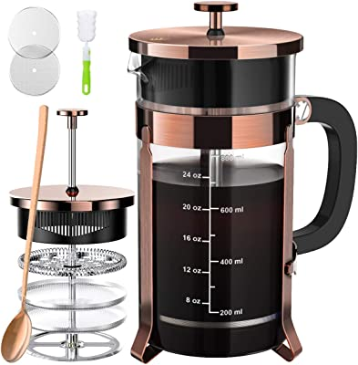 French Press Coffee and Tea Maker(34oz),304 Stainless Steel Coffee Press with 4 Filters Screen-100% No Residue -German Heat-Resistant Borosilicate Glass- BPA FREE-Easy Clean,Copper,Silver
