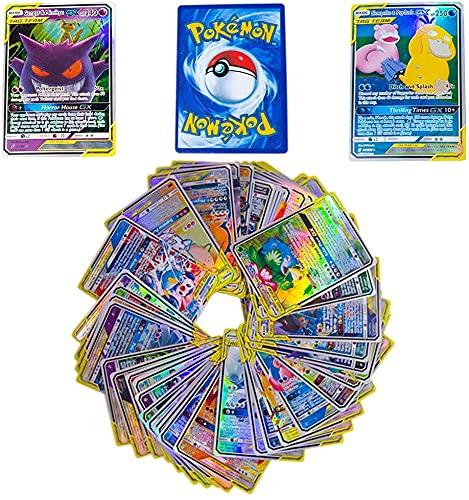100 Poke Cards, Ultra Rare Random TCG Style Card Holo EX Full Art, Cadeaux de Jouets Parfaits pour Les Enfants et Les Enfants (100 Poke Cards)