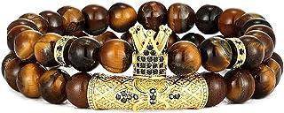 WAINIS 2 قطعة عين النمر تاج الملك سحر الخرز سوار للرجال النساء الحجر الطبيعي الخرز أساور بارد