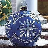Norkins Bola Inflable de Navidad para el hogar, Navidad al Aire Libre, Bola Inflable de PVC Decorada, Decoraciones Gigantes para árboles de Navidad de 23,6 Pulgadas (J)