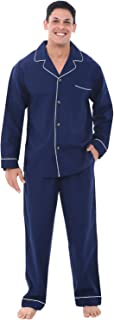 Men's Lightweight Button Down Pajama Set, Long Cotton Pjs