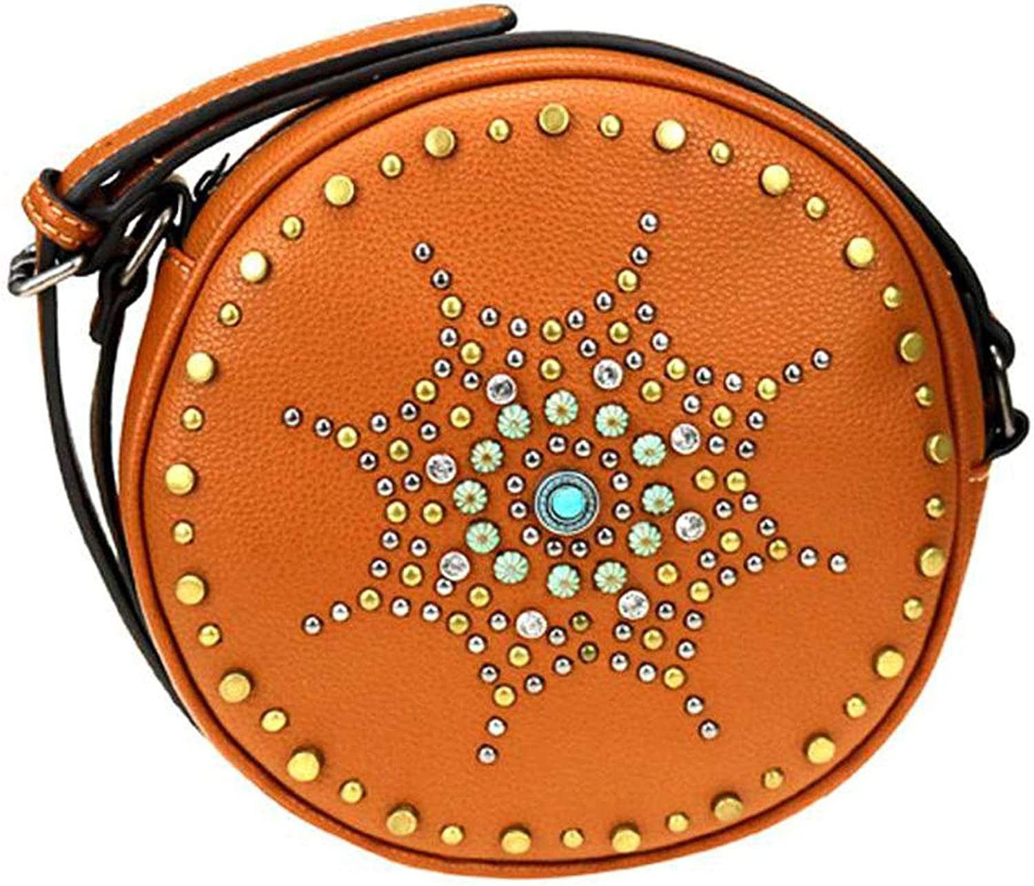 Montana West Multi Studded Round Crossbody w Patina Accents, Small