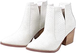 Kathemoi Womens Ankle Boots Slip on Cutout Pointed Toe Snakeskin Chunky Stacked Mid Heel Booties