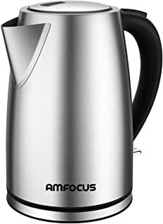 Electric Kettle - 1.7 Liter 304 Stainless Steel Hot Water kettle - Coffee Pot & Tea Kettle - Auto Shutoff and Boil Dry Protection, Cordless, FDA/FCC Approved