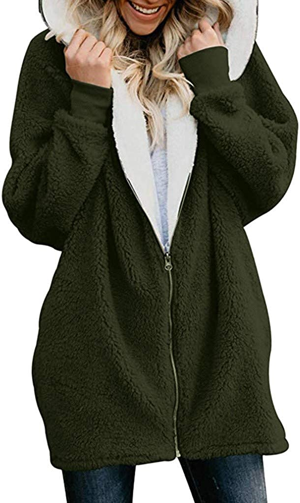 OTTATAT Warm Coat for Women,2020 Spring Autumn Ladies Hooded Solid Oversized Loose Fluffy Soft Comfort Zipper Outwears