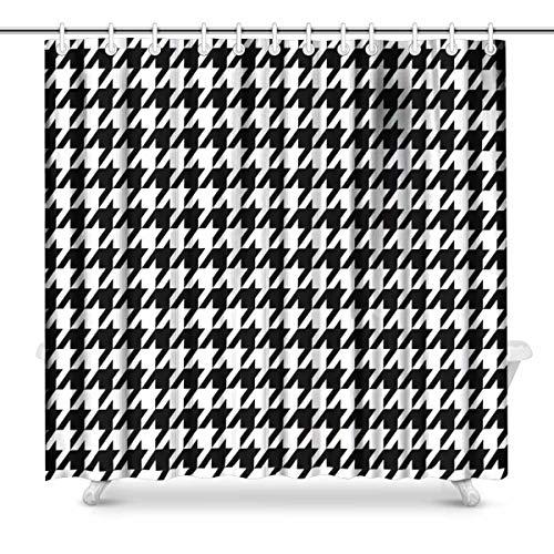 Luancrop Hahnentritt-Duschvorhang aus Polyestergewebe mit Haken