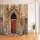 gwegvhvg Duschvorhang, Antik-Moschee mit roter Tür-resistenter Stoff, Duschvorhänge für Badewanne, 180 x 180 cm, Haken