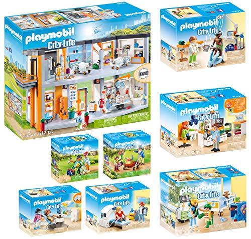 Playmobil® City Life 8er Set 70190 70192 70193 70194 70195 70196 70197 70198 Krankenhaus + Kinderkrankenzimmer + Patient + Oma + Vier Fachärzte